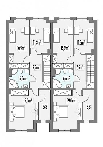 Konrad dwulokalowy L+P - Rzut piętra