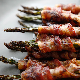 "Bacon Wrapped ""Spicy and Sweet"" Asparagus."