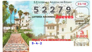 Décimo de la Lotería Nacional con el número del primer premio.