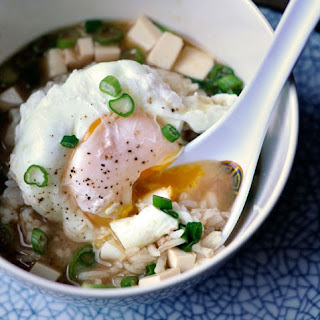 Miso Soup with Rice & Poached Egg.
