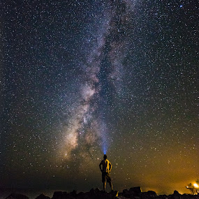 Wishing Upon a Star by John Smith - Landscapes Starscapes ( sky, florida, stars, night, beach, flash light, rocks, starscape, head lamp, milky way )
