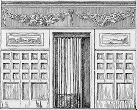 Photo: 1903 Described as a buckram frieze for a dining room, note portiere.