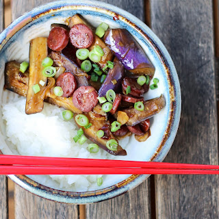 Spicy Eggplant and Chinese Sausage Stir fry.