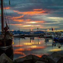 Húsavík, Iceland Harbor by Ron Knight - Transportation Boats ( iceland, harbor, húsavík, fishing boats, sunset, september )