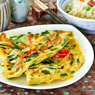 Omelet with Chives and Onions.