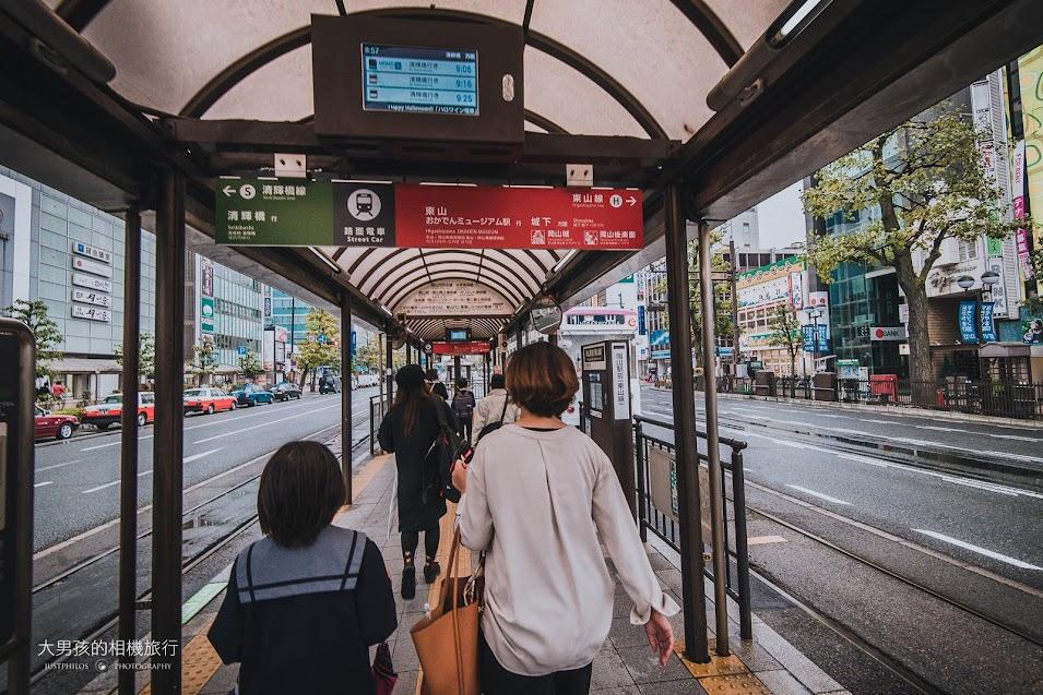 岡山路面電車的位置在岡山車站前方而已,有分東山線與清輝橋線,搭乘時留意不要搭錯。
