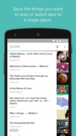 Screenshot 0 for Pocket's Android app'