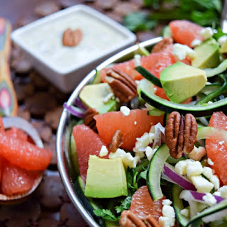 Grapefruit, Avocado and Cucumber Salad with Cilantro Avocado Dressing