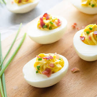 Bacon Chive Deviled Eggs.