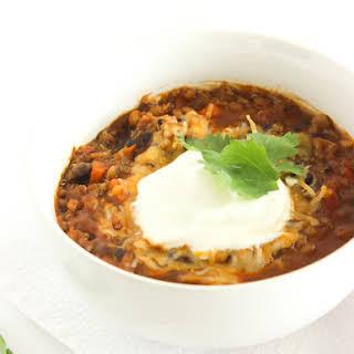Vegetarian Pumpkin Lentil Quinoa Chili.