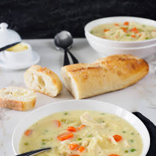 Creamy Chicken Noodle and Vegetable Soup.