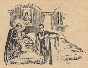 """Photo: Irena Dybowska, drzeworyt. Ilustracja do broszury """"KŁOSY Z BOŻEJ ROLI """" wyd. 1935 r. Bł. Andrzej sam opiekuje się chorymi i zarażonymi."""