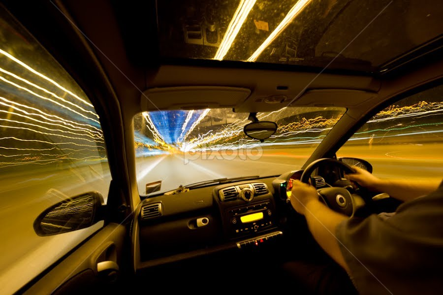 Warp speed smarts by Nigel Johnson - Transportation Automobiles ( colour, speed, motorway, light trails, self, long exposure, fast, smart car, dashboard )