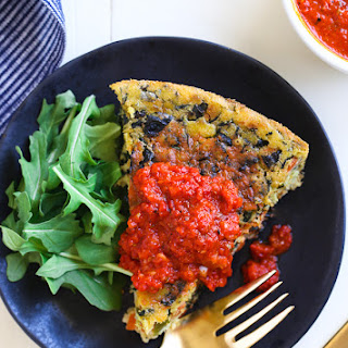 Chickpea Frittata with Roasted Red Pepper Sauce
