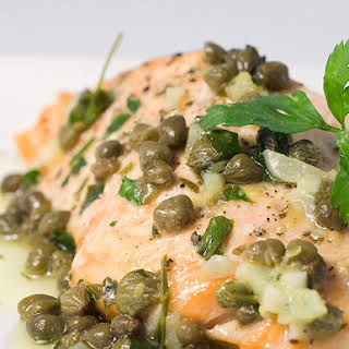 Baked Salmon with Lemon Caper Butter.