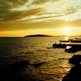 Yellow filter... by Zvonimir Cuvalo - Landscapes Waterscapes ( water, adriatic, before sunset, afternoon, islands )