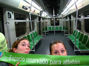 "Photo: ""Space reserved for the athletes."" The guards were kind enough to let us exit through the athlete's metro car."
