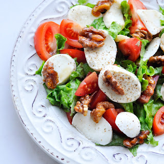 Hello, May or Mozzarella Salad with Candied Walnuts and Tomatoes