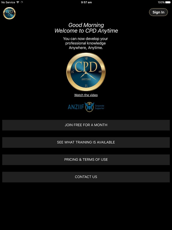 CPD Anytime- screenshot