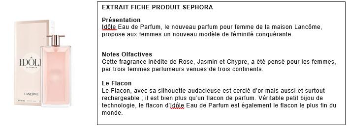 Merci de prendre connaissance du descriptif et de l'image du parfum pour répondre au questionnaire.