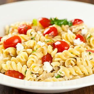 Rotini With Goat Cheese, Pine Nuts And Tomatoes.