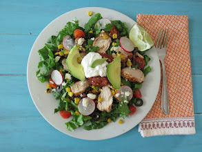 Photo: Mexican Fiesta Salad - A classic healthy spin to the traditional South of the Border salad loaded with chicken, beans, corn and more.  http://www.peanutbutterandpeppers.com/2013/04/30/mexican-fiesta-salad/  #mexicansaladrecipe   #chicken   #cincodemayorecipes   #healthyrecipes   #blackbeansalad   #southwestsalad