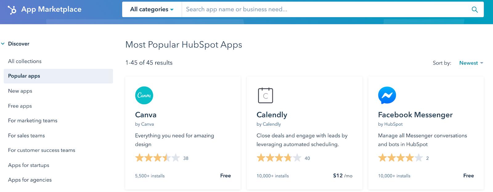 Screenshot of HubSpot App Marketplace