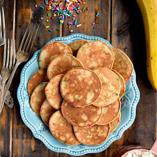 Mini Whole Wheat Banana Pancakes.