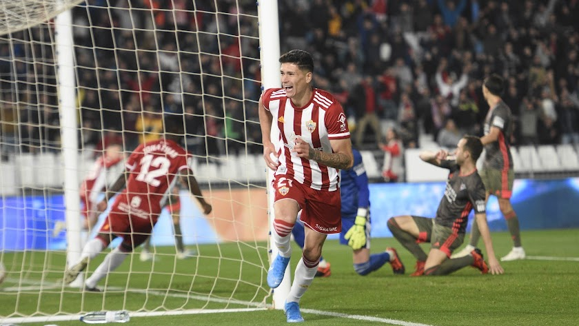 Darwin Núñez celebrando su gol al Mirandés.