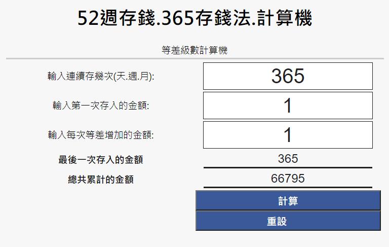 365存錢法計算