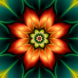 Flower 58 by Cassy 67 - Illustration Abstract & Patterns ( digital, love, harmony, abstract art, trippy, abstract, creative, fractals, digital art, flower, psychedelic, modern, light, fractal, style, energy, fashion )