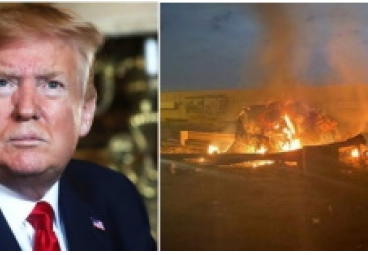Trump-Porträt , daneben Bild vom Anschlag.