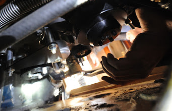 Photo: Pulley being fitted and belt tensioner fitted with plate left. www.electromaax.co.uk