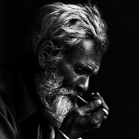 Old Man by Kallol Bhattacharjee - People Portraits of Men ( face, b lack & white, photography, closeup, close, up,  )