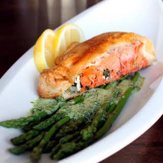 Salmon Wellington with Dill Hollandaise sauce.