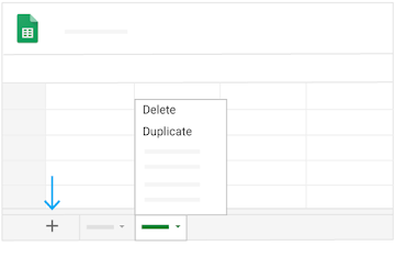 Find delete, duplicate options in the menu of a tab at the bottom of a sheet