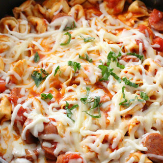 One-Pot Cheesy Tortellini and Sausage.
