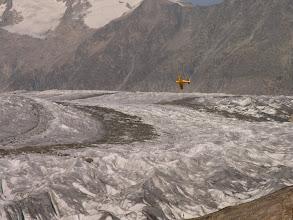 Photo: Aletsch Glacier and small plane