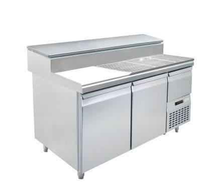 Fastfood tafels S1-1470 2 - DEURS PIZZA TAFEL - MET INGEBOUWDE GEKOELDE SALADETTE
