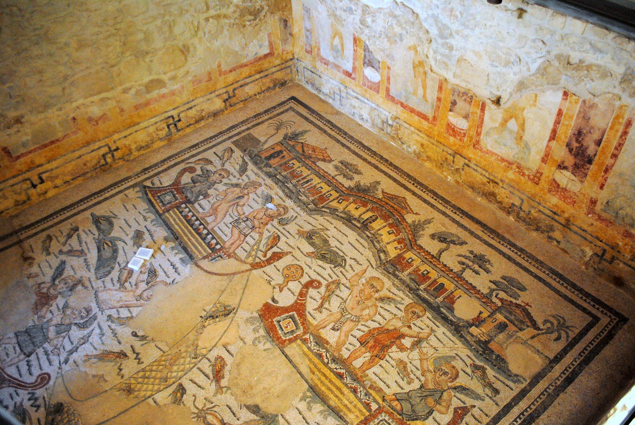 My Photos: Italy -- Mosaics -- Sicily -- Piazza Armerina -- The Cupid Fishermen Mosaic