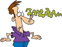 Karikatiur: Mensch mit zugeklammerter Nase.