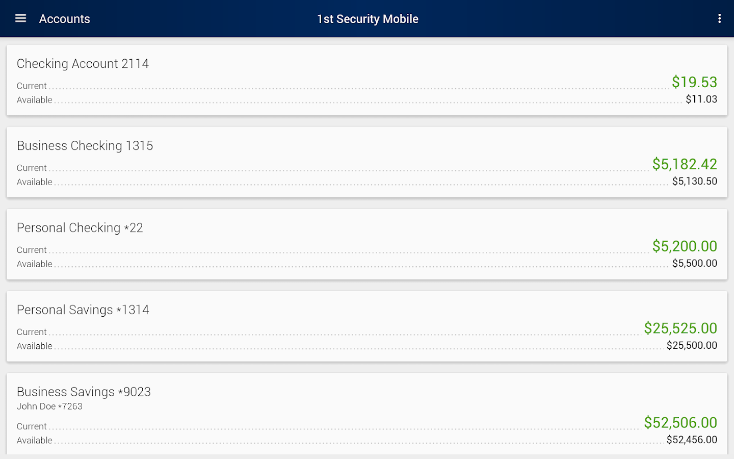 1st Security Bank of WA Mobile- screenshot