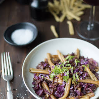 Casarecce Pasta with Braised Cabbage, Bacon & Caramelized Onions.