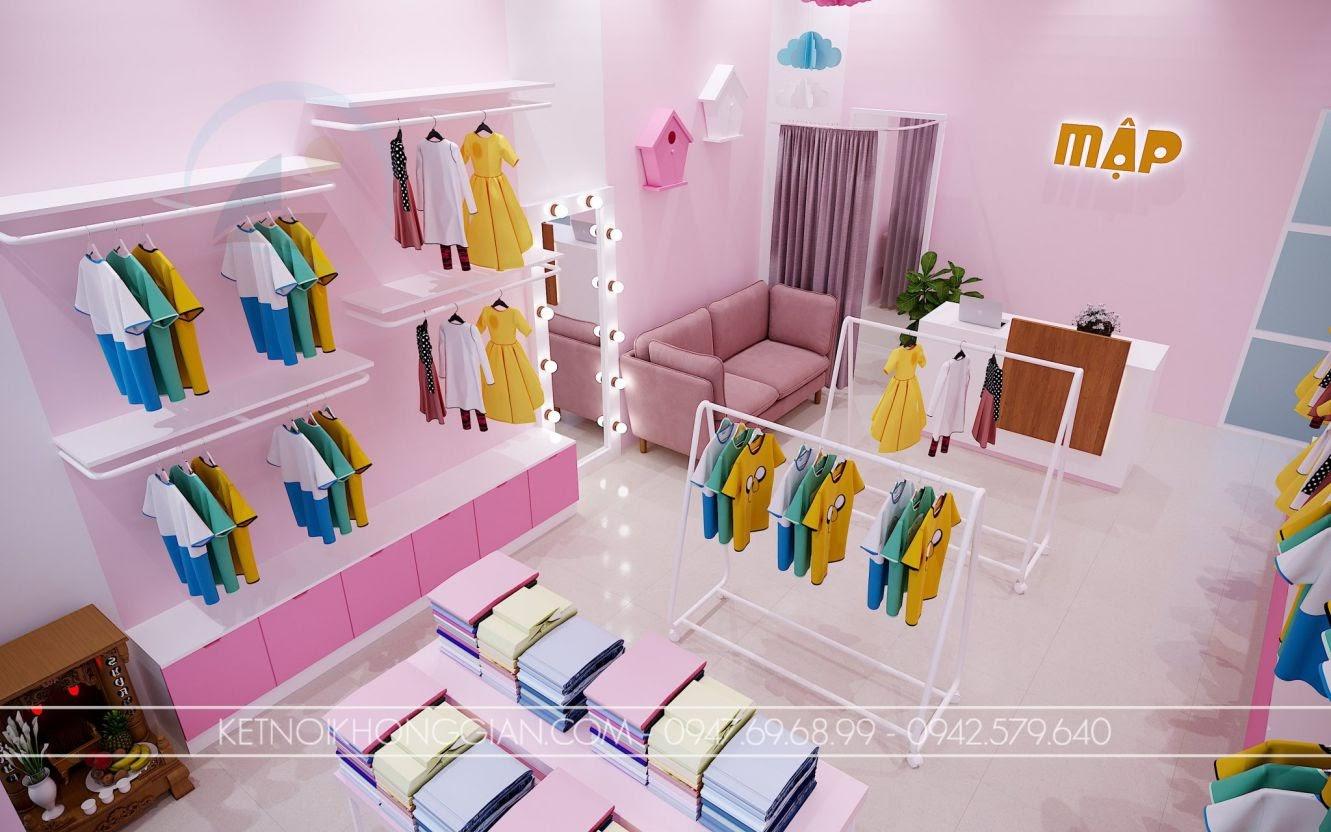 thiết kế shop quần áo trẻ em diện tích nhỏ hợp lý