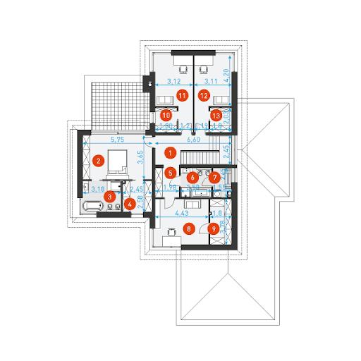 Wyjątkowy 1 - Rzut piętra - wymiary szczegółowe