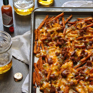 Sweet Potato Fries with Andouille Gravy and Pimento Cheese.