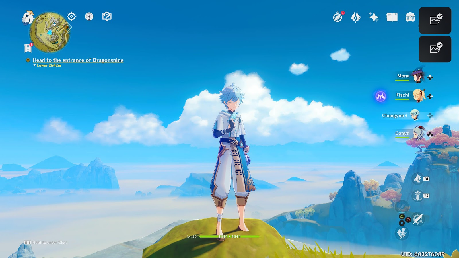 chongyun looks over a mountain