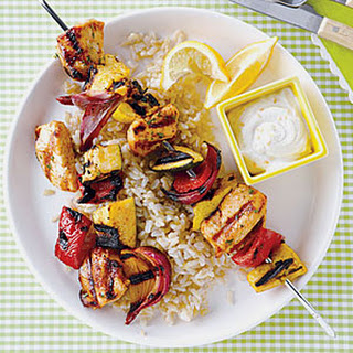 Chicken Kebabs with Yogurt-Tahini Sauce.