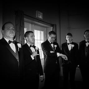 The Wedding by Jason Murray - People Portraits of Men ( tuxedo, waiting, black and white, wedding, portrait, people,  )