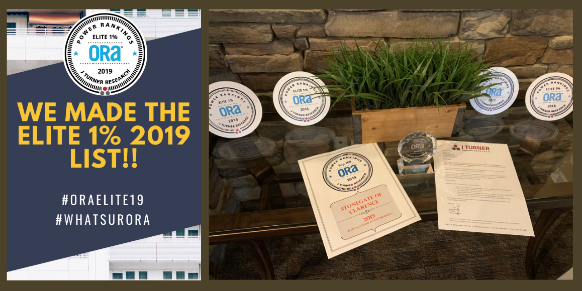 College of ORA Elite 1% badge alongside a photo of StoneGate Apartment Homes in WNY showing the last four years ORA awards.
